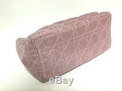 Auth ChristianDior Lady Dior Pink Clear Nylon Plastic Handbag