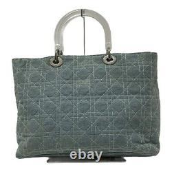 Auth DIOR/ChristianDior Lady Dior Light Blue Clear Multi Denim Plastic Tote Bag
