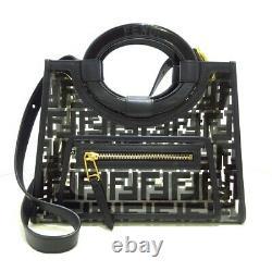 Auth FENDI Runaway Shopper 8BH353 Clear Black Womens Tote Bag