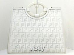 Auth FENDI Zucca 8BH360 White Clear Vinyl & Leather Plastic Tote Bag