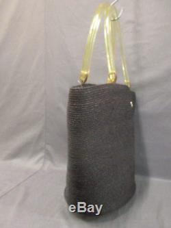 Auth HELEN KAMINSKI DarkBrown Clear Raffia Plastic Tote Bag