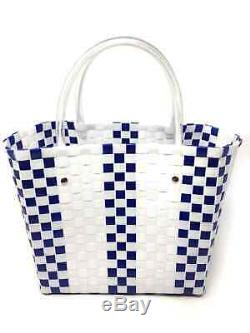 Auth MARNI Flower Cafe Picnic Tote Bag White Blue Clear Plastic Vinyl