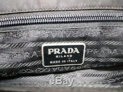 Auth PRADA Black Clear Nylon Plastic Tote Bag