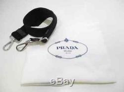 Auth PRADA Canapa Dark Gray Clear Silver Denim Plastic Hardware Tote Bag