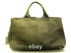 Auth PRADA Canapa Khaki Clear Black Canvas Rhinestones Plastic Tote Bag