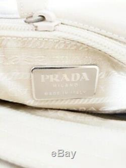 Auth PRADA Ivory Clear Nylon Plastic Tote Bag
