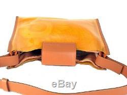 Auth SALVATORE FERRAGAMO Clear Plastic & Cotton Canvas Shoulder Bag Purse Italy