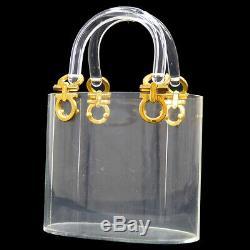 Auth Salvatore Ferragamo Ganchini Hand Tote Bag Clear Plastic Vintage YG01155