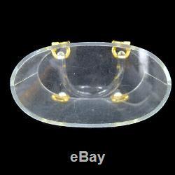 Auth Salvatore Ferragamo Ganchini Hand Tote Bag Clear Plastic Vintage YG02090h