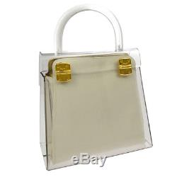 Auth Salvatore Ferragamo Gancini 2 in 1 Hand Bag Clear Plastic Vintage NR11196