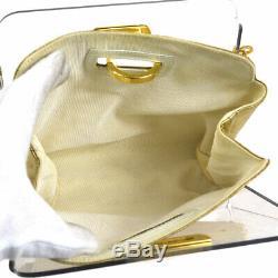 Auth Salvatore Ferragamo Gancini Chain Shoulder Bag Clear Plastic GHW BT14167g