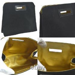Auth Salvatore Ferragamo Gancini Chain Shoulder Bag Clear Plastic GHW JT06172k