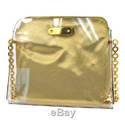 Auth Salvatore Ferragamo Gancini Chain Shoulder Bag Clear Plastics VTG BT14167g