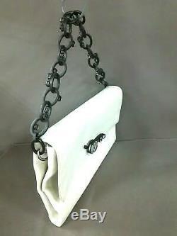 Auth miumiu White Clear Leather Hardware Plastic Handbag