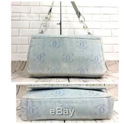 757523277566 Authentic Chanel Coco Shorlder Denim Clear Plastic Chain Shoulder Bag Flap