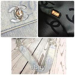 Authentic CHANEL Coco Shorlder Denim Clear Plastic Chain Shoulder Bag Flap B050
