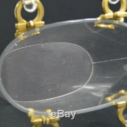 Authentic Salvatore Ferragamo Gancini Hand Bag Clear Plastic Vintage AK17557b