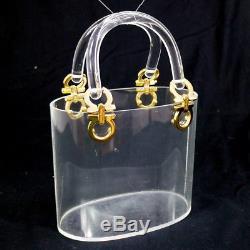 Authentic Salvatore Ferragamo Gancini Hand Bag Clear Plastic Vintage GHW YG01155