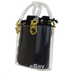 Authentic Salvatore Ferragamo Gancini Hand Bag Plastic Canvas Leather 05ET164