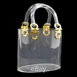 Authentic Salvatore Ferragamo Gancini Hand Bag Plastic Clear Vintage AK06375
