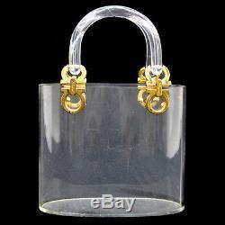 Authentic Salvatore Ferragamo Gancini Hand Bag Plastic Clear Vintage AK06375