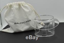 BALENCIAGA Clear Resin Draped Cuff Bracelet Plisse Plastic Acrylic with Dust Bag