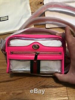 BNWT Gucci Shoulder Ophidia Mini Clear Vinyl Pink Plastic Crossbody Bag Purse