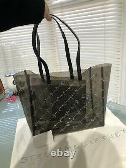 BNWT Stella McCartney Logo Grey Clear Plastic Large Shopper Bag, Dust Bag & Card