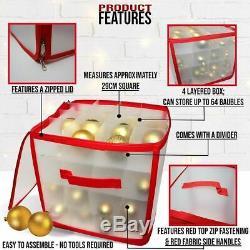 Bauble Storage Box Christmas Xmas Tree Decoration Organiser 64 Baubles Decor Bag