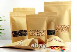 Brown Packaging Bag Clear Window Gusset Standing Zip Lock Sealable Heat Seal