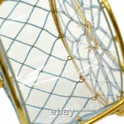 CHANEL CC Logos Chain Party Hand Bag Purse Clear Light Blue Beaded Auth 61780