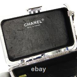 CHANEL CC Logos Clutch Party Bag 9606609 Black Clear Plastic Leather 04349