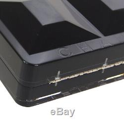 CHANEL CC Logos Clutch Party Bag 9606609 Black Clear Plastic Leather JT08830