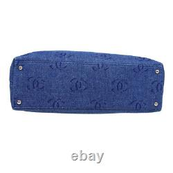 CHANEL CC Plastic Chain Hand Tote Bag 7415882 Purse Indigo Clear Denim 31591