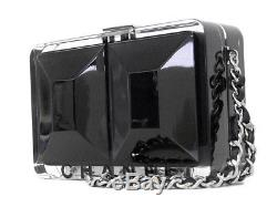 CHANEL CoCo Mark Chain Shoulder Hand Bag Plastic Black Clear Used Clutch