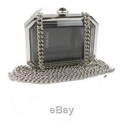 CHANEL Pochette Chain Shoulder Bag Plastic Clear Silver Rare Used A69838