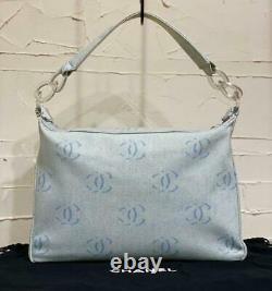 CHANEL Shoulder Bag Light Blue Denim CC Logo Pattern Clear Chain Authentic