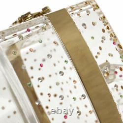CHANEL Vanity Party Bag Clear Plastic Rhinestone 04A 61781