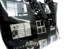 CHANEL Windows Plastic Chain Shoulder Tote Bag Black Clear Vinyl Vintage Used