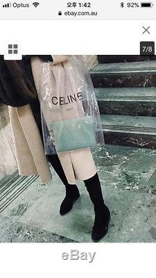 Celine Spring Summer 2018 Clear Plastic Shopping Bag With Mint Zip Pouch Wallet