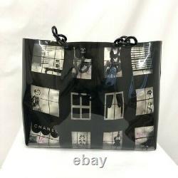 Chanel Chain Tote Bag Window Line Clear Skeleton Vinyl Black Plastic Coco 16968