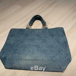 Chanel Denim Bag Coco Mark Clear Plastic Chain Shoulder Rare