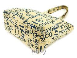 Chanel Tote Bag Shoulder Vintage Baixi Beige Navy Clear Canvas Plastic No. 1533