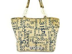Chanel Tote Bag Shoulder Vintage Baixi Beige Navy Clear Canvas Plastic Wo 69004