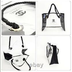 Chanel VIP Beaute Clear/Black plastic beach Bag Tote, New
