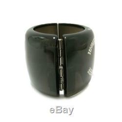 Chanel rhinestone wide bangle 10A rank A Auth clear black silver plastic