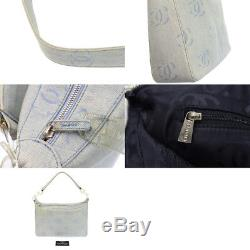 Chanel shoulder bag denim light clear plastic chain here mark
