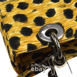 Christian Dior Lady Dior Cheetah 2way Hand Bag Purse Brown Black Canvas AK38428h