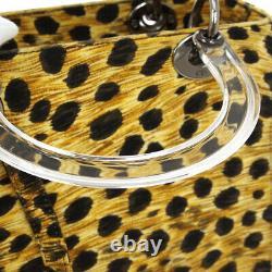 Christian Dior Lady Dior Leopard 2way Hand Bag MA0959 Beige Black NR14016f