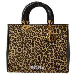 Christian Dior Lady Dior Leopard 2way Hand Bag Purse Brown Fur Italy 72779